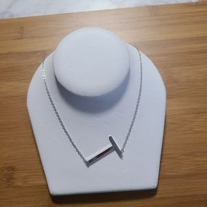 """Silver Letter Initial Necklace """"T"""""""